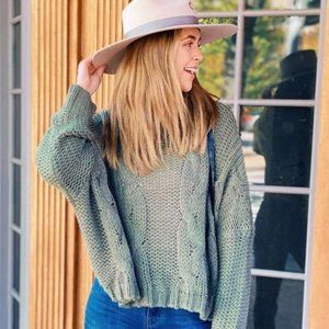 Army Green Cropped Dolman Mohair Blend Sweater